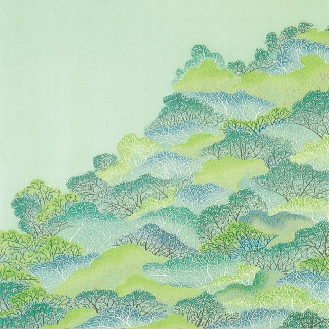 正絹ちりめん友仙風呂敷 約68×68cm 山林 セイジ