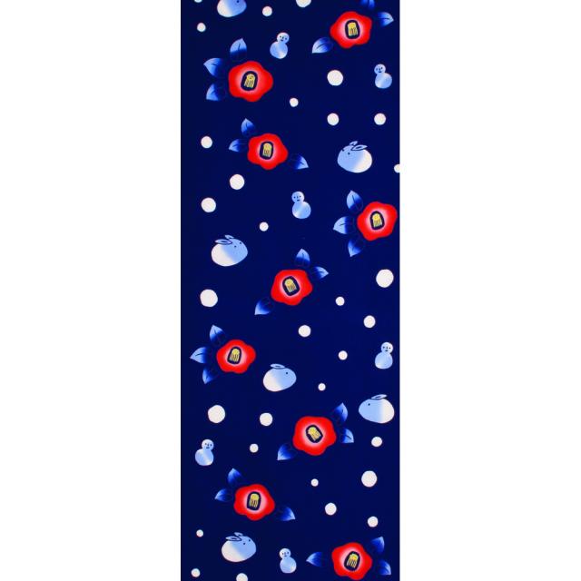 和布華 手ぬぐい クリスマス/寒椿と雪うさぎ/T098-350