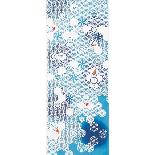 気音間 手ぬぐい クリスマス/麻雪だるま/T099-50029