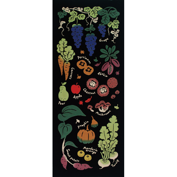 気音間 手ぬぐい 食べ物/秋の実り/T099-51663