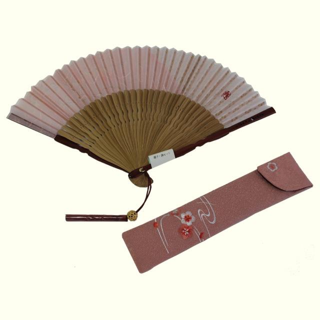 京扇子 喜多美(きたみ)/ピンク-梅に流水/W022-75001-62