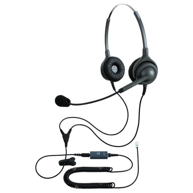 エンタープライズ製ヘッドセットパック両耳タイプ MC3接続コード(ミュートスイッチ付)