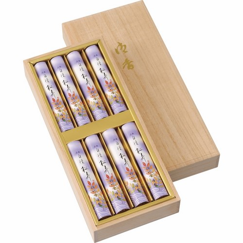 松竹堂香舗 白檀 松寿 短寸 八把 桐箱(B5133070)
