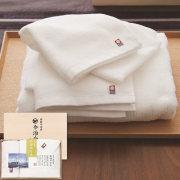 今治白なみ 日本製 愛媛今治 木箱入りタオルセット ホワイト(60215)