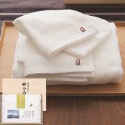 今治白なみ 日本製 愛媛今治 木箱入りタオルセット ホワイト(60225)