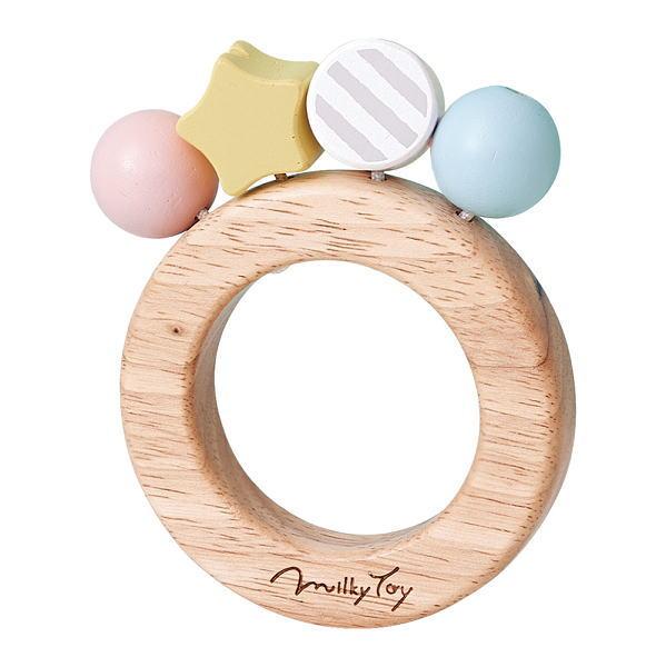 MilkyToy Bonbon Rattle ボンボンラトル 木のおもちゃ ベビー用 あかちゃん ラトル 歯がため がらがら 木製 玩具