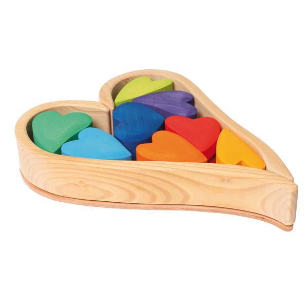 ハートの積木 レインボー 木のおもちゃ GRIMM'S グリムス 積木 積み木 つみき 木製 知育 玩具
