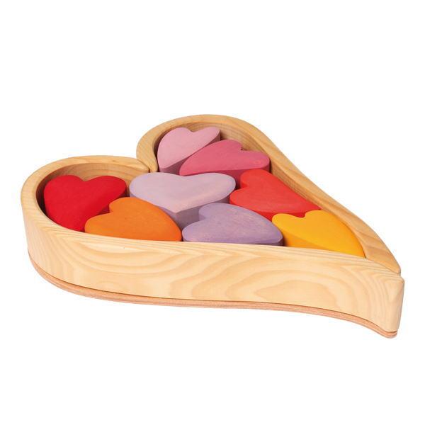 ハートの積木 レッド 木のおもちゃ GRIMM'S グリムス 積木 積み木 つみき 木製 知育 玩具