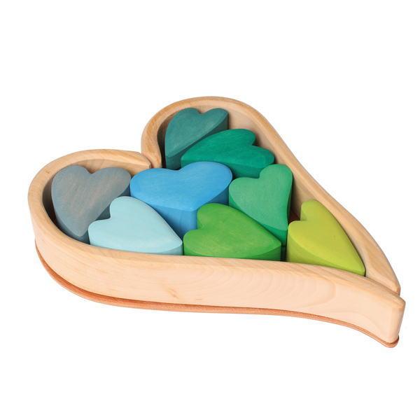ハートの積木 ブルー 木のおもちゃ GRIMM'S グリムス 積木 積み木 つみき 木製 知育 玩具