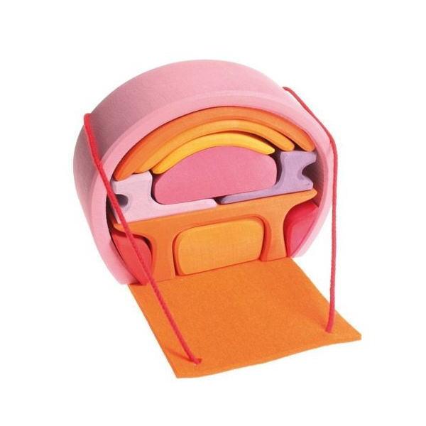 スマートハウス ピンク 木のおもちゃ GRIMM'S グリムス ドールハウス ままごと 積木 木製 知育 玩具