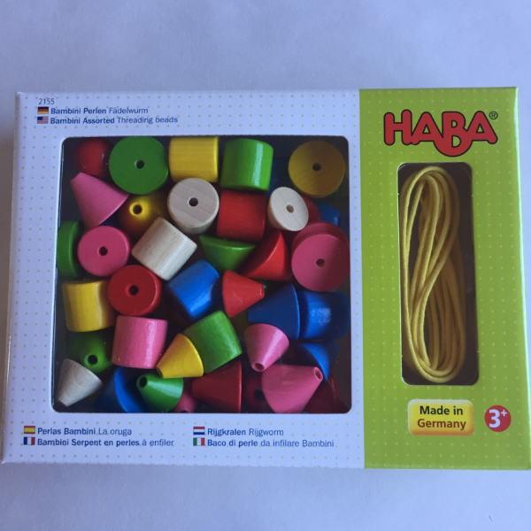 カラービーズ 6シェイプ 木のおもちゃ ひも通し ハバ HABA