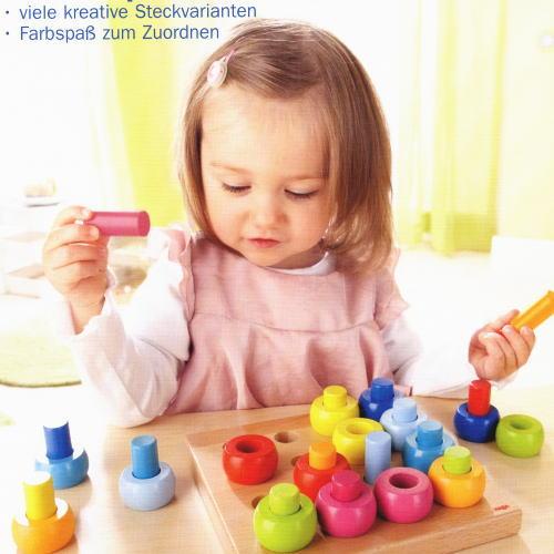 カラーリングのペグ遊び 木のおもちゃ ハバ HABA
