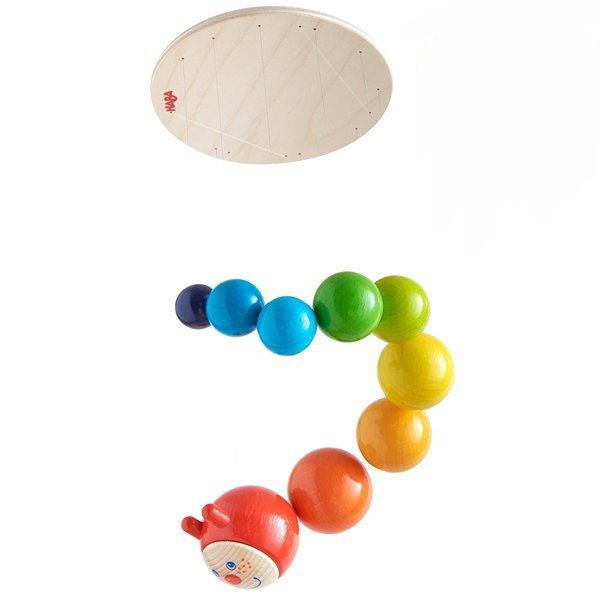 モビール カラフルいも虫 HABA社 ハバ ドイツ 赤ちゃん ベビー用 木のおもちゃ インテリア小物 出産 御祝