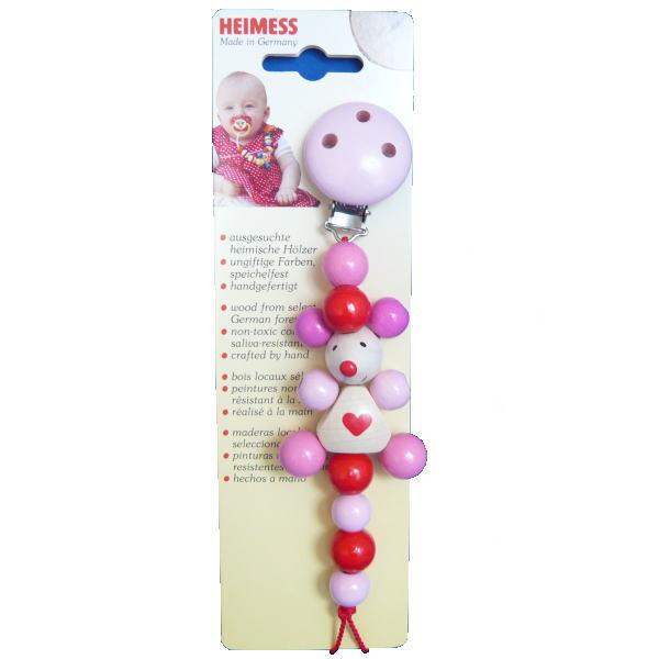 ベビーチェーン ねずみ ピンク 木のおもちゃ おしゃぶり 落下防止 ベビー
