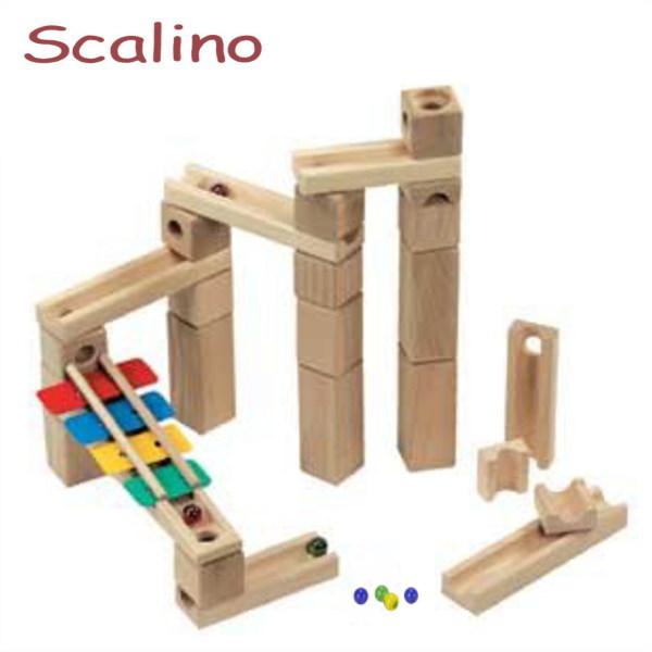 スカリーノ 鉄琴セット 【おまけのビー玉5個付き】 scalino 木のおもちゃ 積木 積み木 つみき 知育 玩具