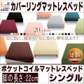 20色カバーリング【ポケットコイルマットレスベッド】シングル 脚22cm