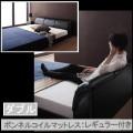 モダンデザインフロアベッド【レザーブラック】【ボンネルコイルマットレス:レギュラー付き】ダブル