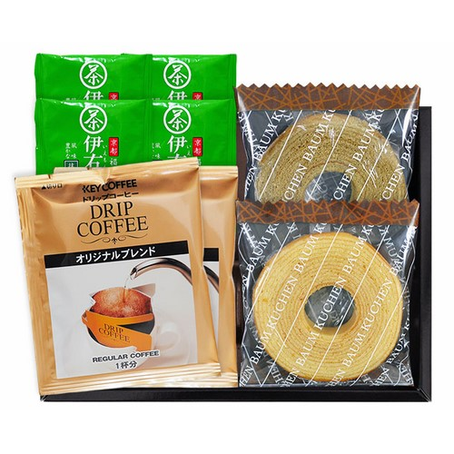 【送料無料】 バウムクーヘン・コーヒー・煎茶ティ-バッグセット