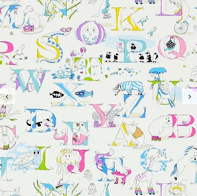Alphabet zoo223911  140cmx1Mカットクロス(海外取寄せ)