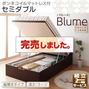 跳ね上げ式収納付きベッド【Blume】ブルーメ・ラージ セミダブル 【縦開き】ボンネルコイルマットレス付<>ホワイト