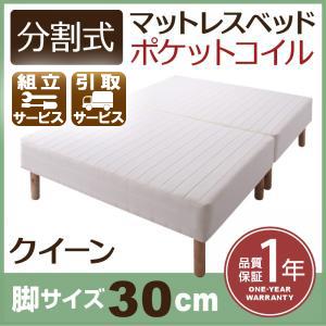 分割式ポケットコイルマットレスベッド 脚30cm クイーン