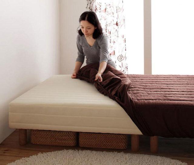 色・寝心地が選べる!20色カバーリング ボンネルコイルマットレスベッド 脚15cm シングル
