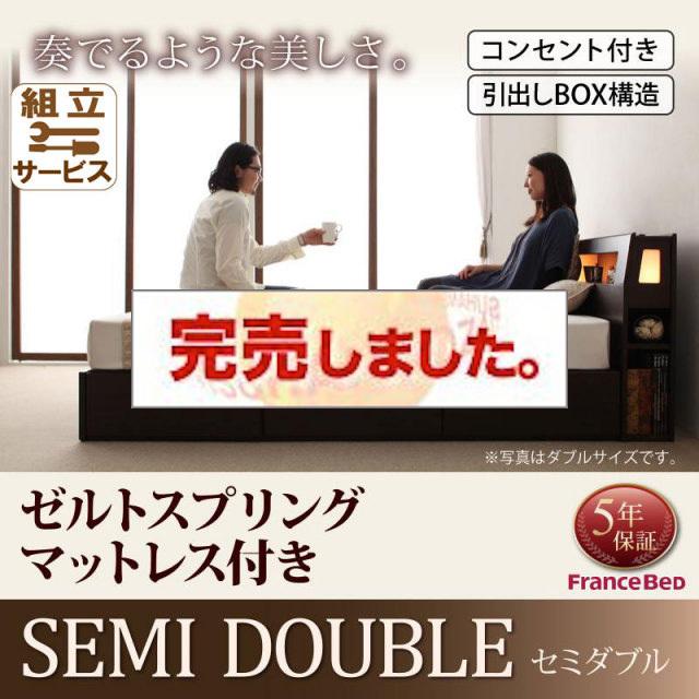 収納ベッド【Modellus】モデラス【デュラテクノマットレス付き】セミダブル