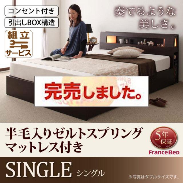 収納ベッド【Modellus】モデラス【羊毛入りデュラテクノマットレス付き】シングル