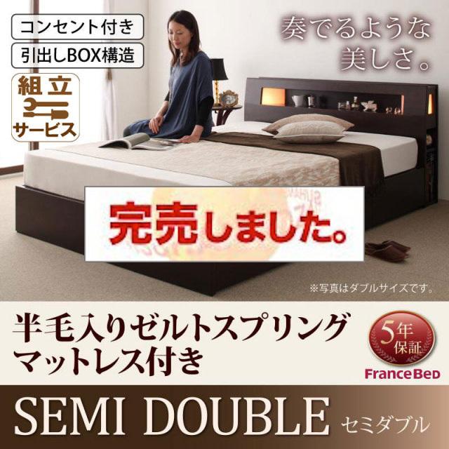 収納ベッド【Viola】ヴィオラ【羊毛入りデュラテクノマットレス付き】セミダブル