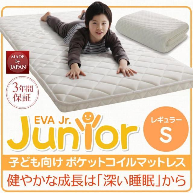 薄型・軽量・高通気 【EVA】 エヴァ ジュニア ポケットコイル シングル レギュラー丈