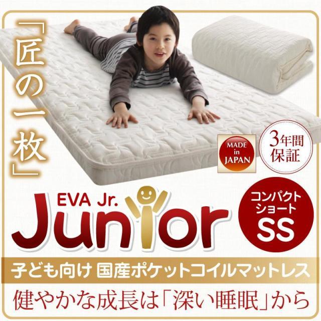 抗菌・薄型・軽量 【EVA】 エヴァ ジュニア 国産ポケットコイル セミシングル ショート丈