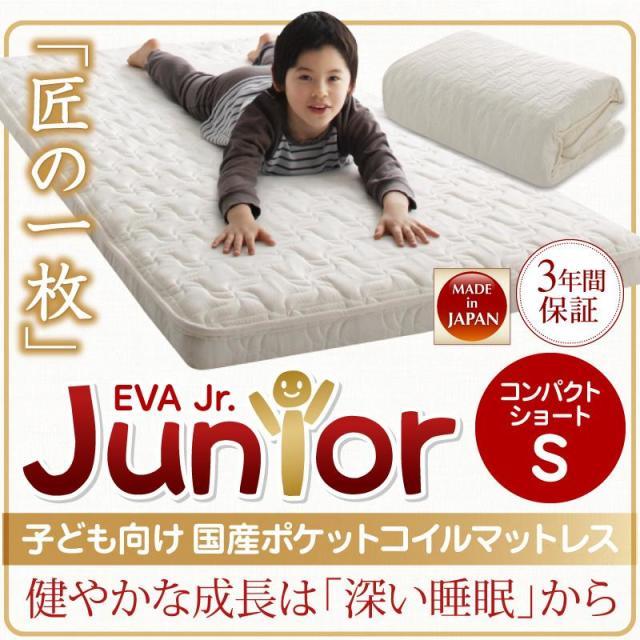 抗菌・薄型・軽量 【EVA】 エヴァ ジュニア 国産ポケットコイル シングル ショート丈
