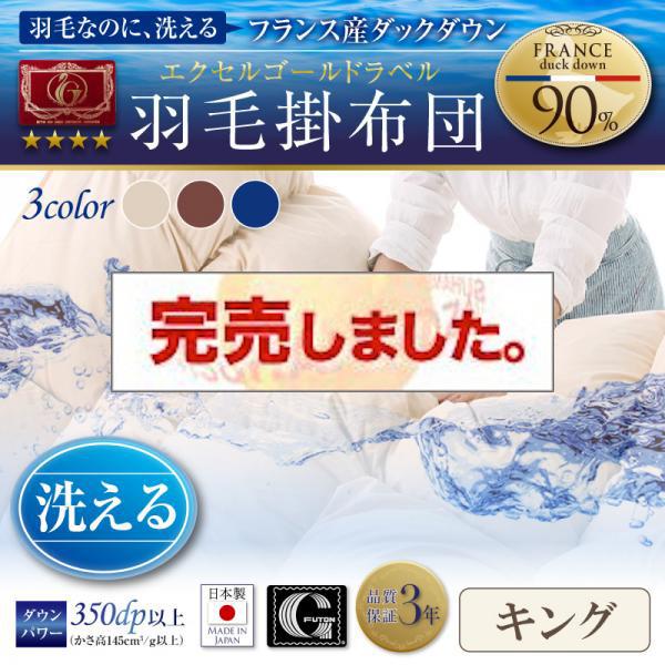 日本製 エクセルゴールドラベル洗えるフランス産ダックダウン90% 羽毛掛布団【Lucia】ルチア キング
