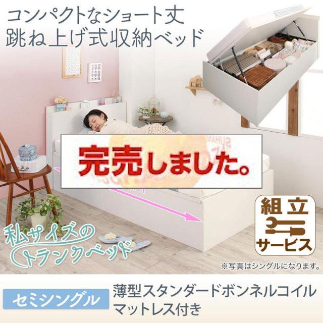 ショート丈跳ね上げベッド【Avari】アヴァリ 薄型スタンダードボンネルマットレス付 セミシングル