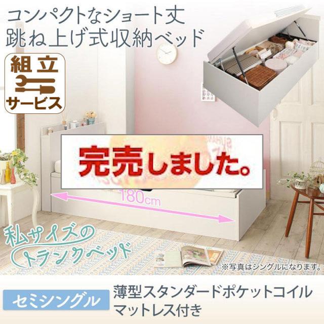 ショート丈跳ね上げベッド【Avari】アヴァリ 薄型スタンダードポケットマットレス付 セミシングル
