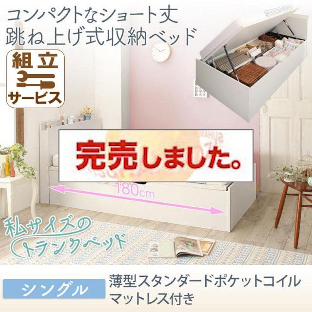 ショート丈跳ね上げベッド【Avari】アヴァリ 薄型スタンダードポケットマットレス付 シングル