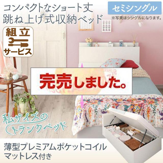 ショート丈跳ね上げベッド【Avari】アヴァリ 薄型プレミアムポケットマットレス付 セミシングル