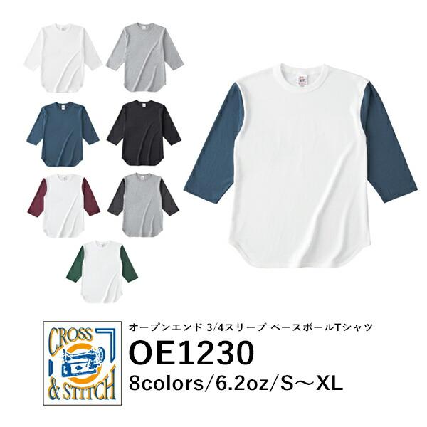 CROSSSTITCH(クロススティッチ)オープンエンド3/4スリーブベースボールTシャツ