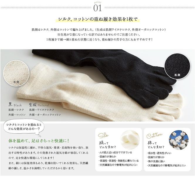 絹コットン5本指靴下3