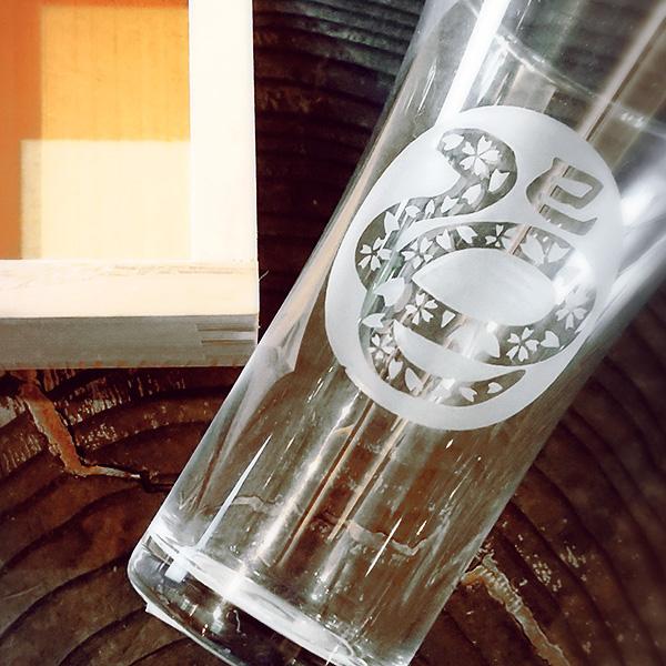 【巳(へび)】 HIROガラス工房 干支桝(ます)付きグラス