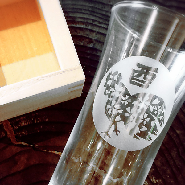 【酉(とり)】 HIROガラス工房 干支桝(ます)付きグラス