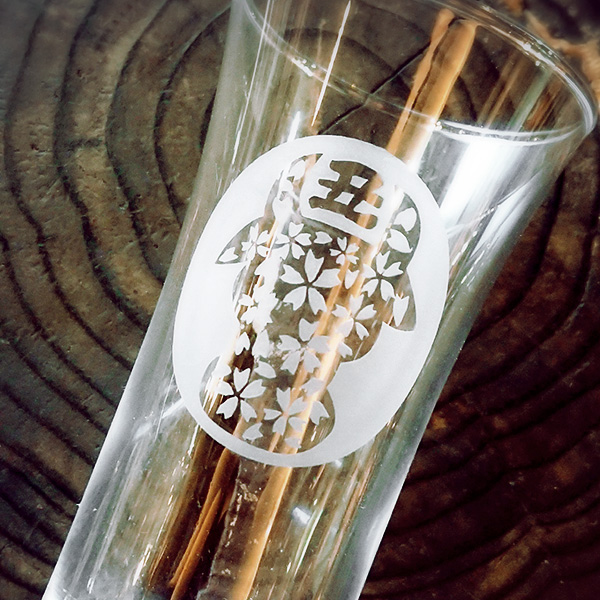 【丑(うし)】 HIROガラス工房 干支桝(ます)付きグラス