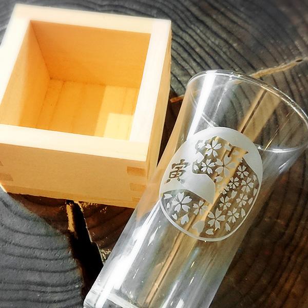 【寅(とら)】 HIROガラス工房 干支桝(ます)付きグラス