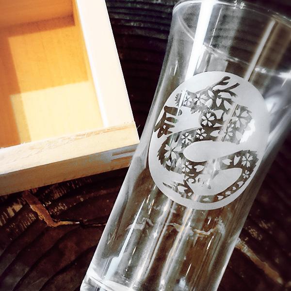 【辰(たつ)】 HIROガラス工房 干支桝(ます)付きグラス