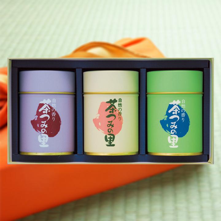 【贈答用】<深蒸し掛川茶>茶摘みうた・掛川の雫・掛川の里3缶セット(100g×3缶入)