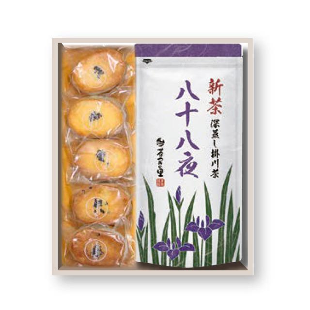 【予約商品】【贈答用】八十八夜新茶とさつまいもサブレのセット(100g×2袋/5個)【5月1日以降順次発送】