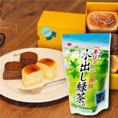 【絶品おすすめセット】濃厚半熟スフレ(6個入)と水出し煎茶(1袋)のセット