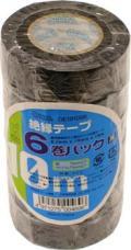 【オーム電機/OHM】DE19106K ビニールテープ  0.2mm19mm×10m  黒色 6巻パック