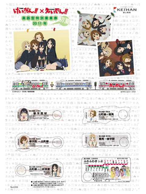 けいおん!!×えいでん!! 楽器型特別乗車券 2011年初夏
