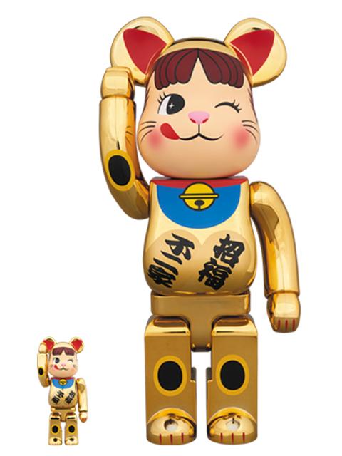 招き猫 ペコちゃん 金メッキ弐   BE@RBRICK ベアブリック 100%&400%
